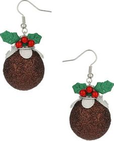Dorothy Perkins, 1134[^]262015000715144 Womens Christmas Pudding Earrings- Brown