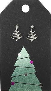 Dorothy Perkins, 1134[^]262015000715155 Womens Christmas Tree Stud Earrings- Silver
