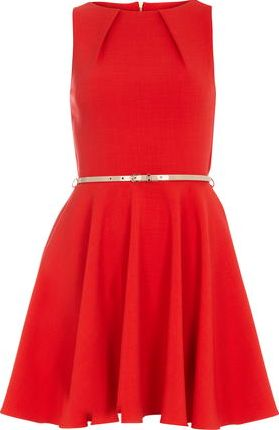 Dorothy Perkins, 1134[^]262015000706916 Womens Closet Red Flared Belted Dress- Red