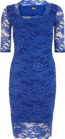 Dorothy Perkins, 1134[^]262015000705774 Womens Fever Fish Royal Blue Lace Scallop Dress-