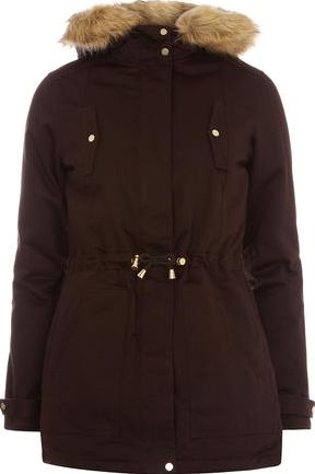 Dorothy Perkins, 1134[^]262015000708355 Womens Gold Trim Cotton Parka jacket- Brown