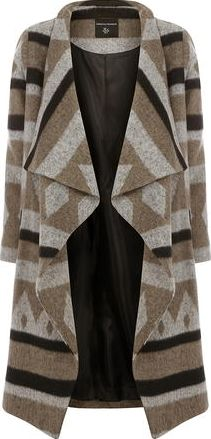 Dorothy Perkins, 1134[^]262015000712132 Womens Grey And Camel Waterfall Coat- Grey