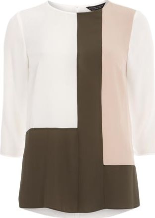 Dorothy Perkins, 1134[^]262015000707877 Womens Ivory Colour Block Top- White DP05597722