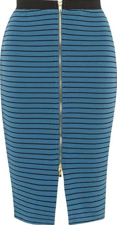 Dorothy Perkins, 1134[^]262015000707906 Womens Izabel London Petrol Blue Stripe Skirt-
