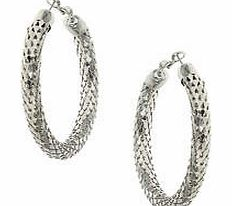 Womens Large Textured Silver Hoop- Silver