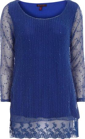 Dorothy Perkins, 1134[^]262015000707690 Womens Mandi Blue Sequin Layered Tunic Top- Blue
