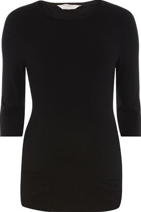 Dorothy Perkins, 1134[^]262015000705558 Womens Maternity Black Longline Ribbed Top-