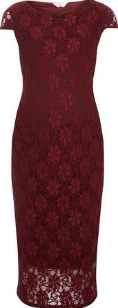 Dorothy Perkins, 1134[^]262015000705436 Womens Maternity Wine Lace Pencil Dress- Wine