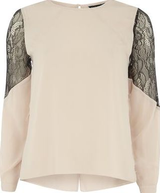 Dorothy Perkins, 1134[^]262015000709801 Womens Nude Lace Insert Blouse- Nude DP05602635