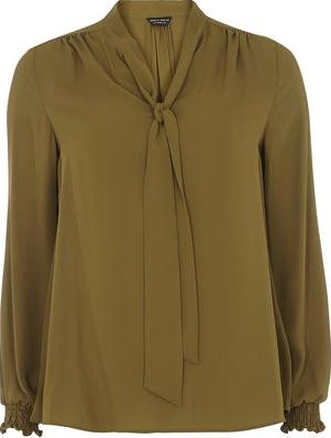 Dorothy Perkins, 1134[^]262015000707273 Womens Olive Pussybow Blouse- Green DP05587033