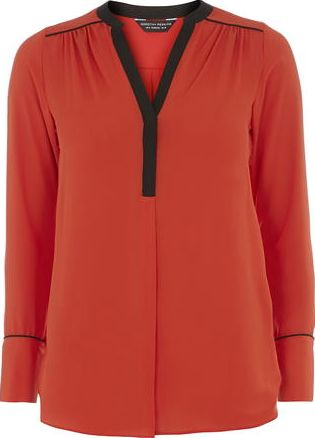 Dorothy Perkins, 1134[^]262015000708158 Womens Orange Contrast Pocket Shirt- Orange