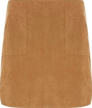 Dorothy Perkins, 1134[^]262015000712990 Womens Petite Tan Suedette Skirt- Brown DP79894050