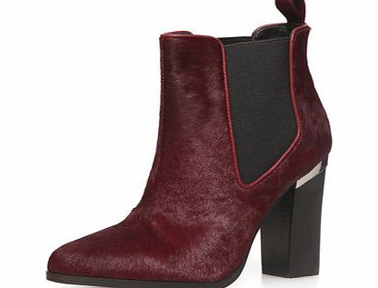 Dorothy Perkins Womens Port leather pony hair boots- Red
