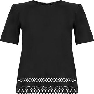 Dorothy Perkins, 1134[^]262015000710841 Womens Quiz Crepe Laser Cut Top- Black DP08000365