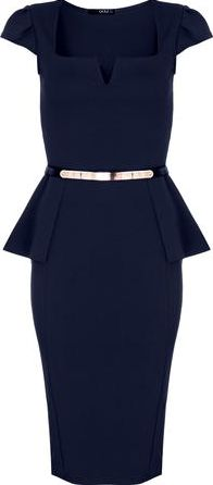 Dorothy Perkins, 1134[^]262015000710094 Womens Quiz Marcella Belt Peplum Dress- Blue