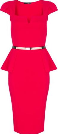 Dorothy Perkins, 1134[^]262015000710100 Womens Quiz Marcella Belt Peplum Dress- Red