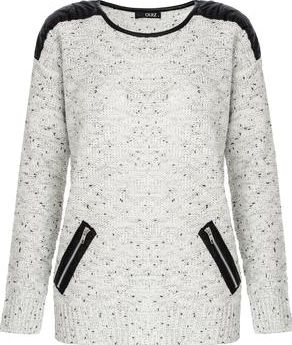 Dorothy Perkins, 1134[^]262015000710009 Womens Quiz PU Knit Jumper- Cream DP08000350