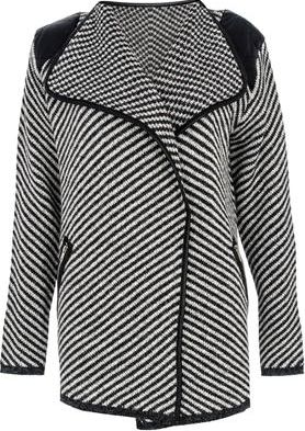 Dorothy Perkins, 1134[^]262015000710013 Womens Quiz Stripe Waterfall Cardigan- Grey