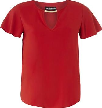 Dorothy Perkins, 1134[^]262015000707738 Womens Red Key Hole Top- Red DP05599112