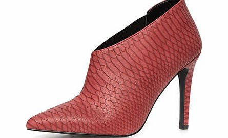 Dorothy Perkins Womens Red snake effect shoe boots- Red DP22296726