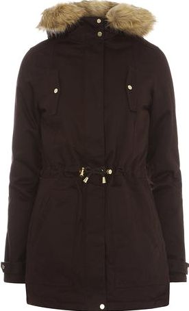 Dorothy Perkins, 1134[^]262015000709047 Womens Tall Gold Trim Cotton Parka coat- Brown