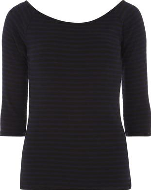Dorothy Perkins, 1134[^]262015000712302 Womens TALL Stripe Bardot Top- Navy DP56458623