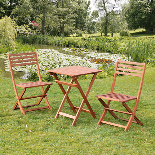 With the minimum of maintenance this hardwood bistro set with its space-saving folding table and chairs will look good year in year out.If you like the simple lines and natural elegance of hardwood but don - CLICK FOR MORE INFORMATION
