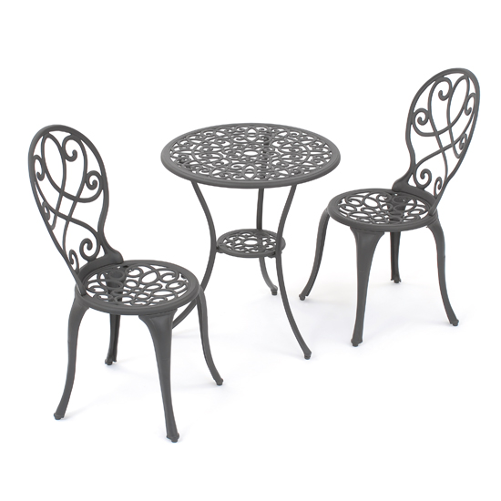 The traditional Dorset Bistro Garden Furniture set is both ornate and hard wearing. Constructed from mixed cast aluminium and cast iron and finished in a durable black powder coating this is a classic baroque design.Featuring two decorative chairs an - CLICK FOR MORE INFORMATION