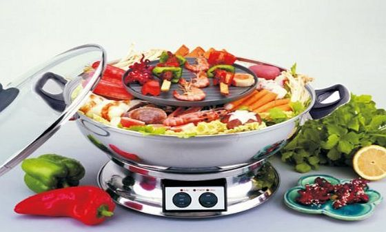 Double Suki Super BBQ Electric Hotpot   BBQ Grill - Double Suki Super BBQ