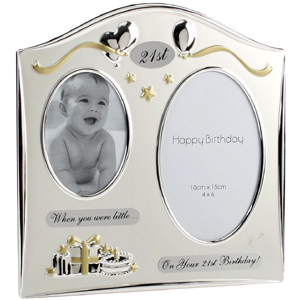 double Then and Now 21st Birthday Photo Frame product image