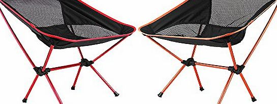 Portable Folding Camping Stool Chair Seat for Fishing Festival Picnic BBQ Beach with Bag[Max load 100kg / 220.5lb,Light Tent Framework] (Red amp; Orange)