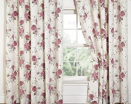 Dove Mill Curtains Hydrangea Floral Print Eyelet Lined Curtains, Pink - 66`` Width x 90`` Drop