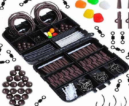 Dr.Fish  219 X Carp Fishing Tackle Flip Box Rigs Lot Safety Clips Hooks Swivel Corn Tubing Accessories Brown Brown