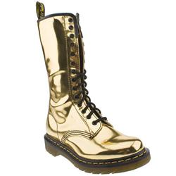 Female 14 Eye Zip Metallic Boot Manmade Upper Casual in Gold, Pewter