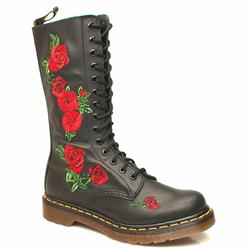 Female 14 Tie Emb Roses Boot Leather Upper Alternative in Black and Red