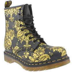 Female 8 Eye Flock Boot Leather Upper Casual in Black and Gold