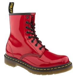 Female 8 Tie Boot Patent Upper Casual in Red