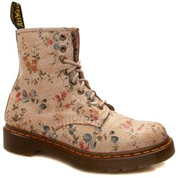 Female 8 Tie Floral Boot Leather Upper Alternative in Stone