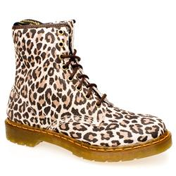 Female 8 Tie Leopard Boot Suede Upper Alternative in Beige and Brown