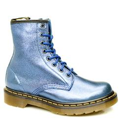 Female 8 Tie Metallic Boot Leather Upper Alternative in Blue