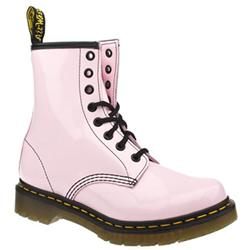 Female 8 Tie Patent Boot Patent Upper Alternative in Pale Pink