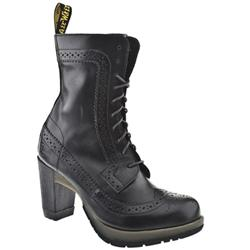 Female Diva Regina Wing Tip Boot Leather Upper Casual in Black