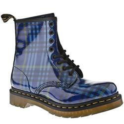 Female Dm 8 Eye Mcmartens Tartan Boot Patent Upper Casual in Blue