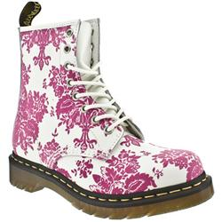 Female Dr Martens 1460 W Leather Upper Casual in White and Pink