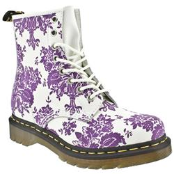 Female Dr Martens 1460 W Leather Upper Casual in White and Purple