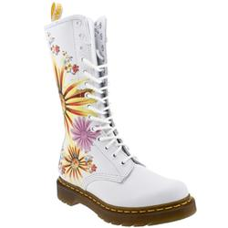 Female Dr Martens Flower Burst Leather Upper Casual in White
