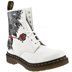 Female Dr Martens Rose Skull Leather Upper Casual in White and Black