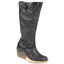 Female Edge Aaliyah Leather Upper Textile Lining Casual in Black