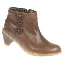 Female Jendia Leather Upper Leather/Textile Lining Ankle in Dark Brown