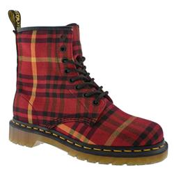 Female Tyree 8 Eye Mcmarten Tartan Fabric Upper Casual in Red